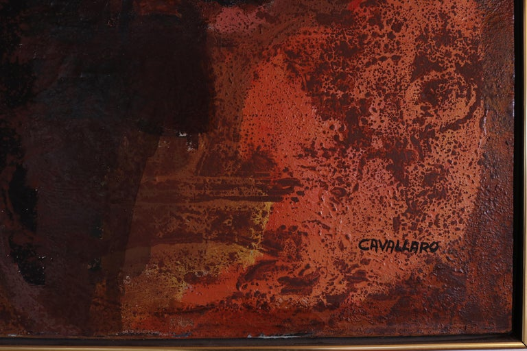 Mid-Century Modern Abstract Expressionist Oil Painting by Vincent Cavallaro  For Sale