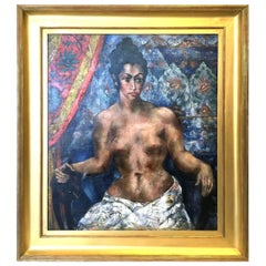 Abraham Baylinson Nude Woman Oil on Canvas