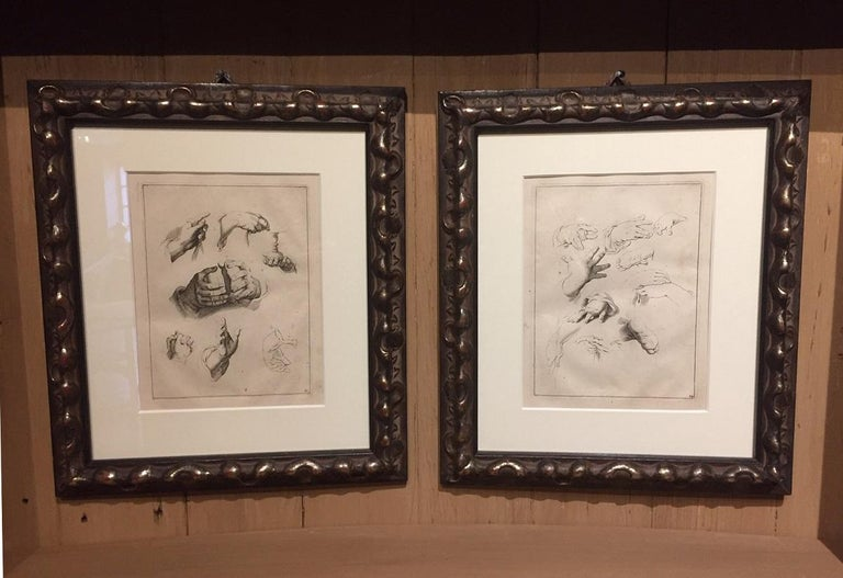 Abraham Bloemaert Pair of 17th Century Etching Study of Hands For Sale 4
