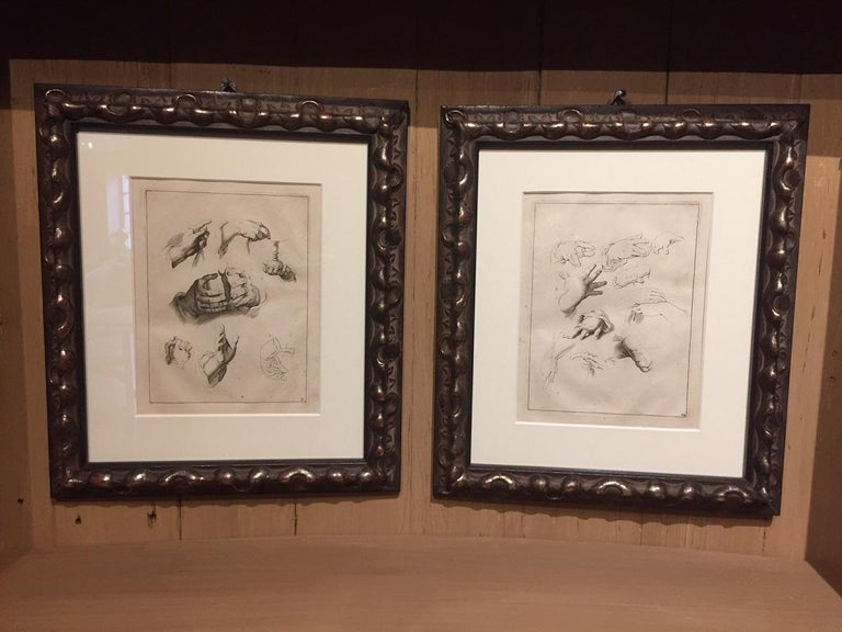 A pair of etchings by Abraham Bloemaert (1564-1651). They depict a study of hands in various postures. Prints like this were often used by other artists as study models as well as enhancing the reputation of the artist. Bloemaert was and is a well