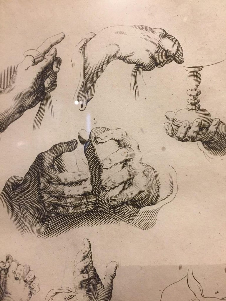 Baroque Abraham Bloemaert Pair of 17th Century Etching Study of Hands For Sale