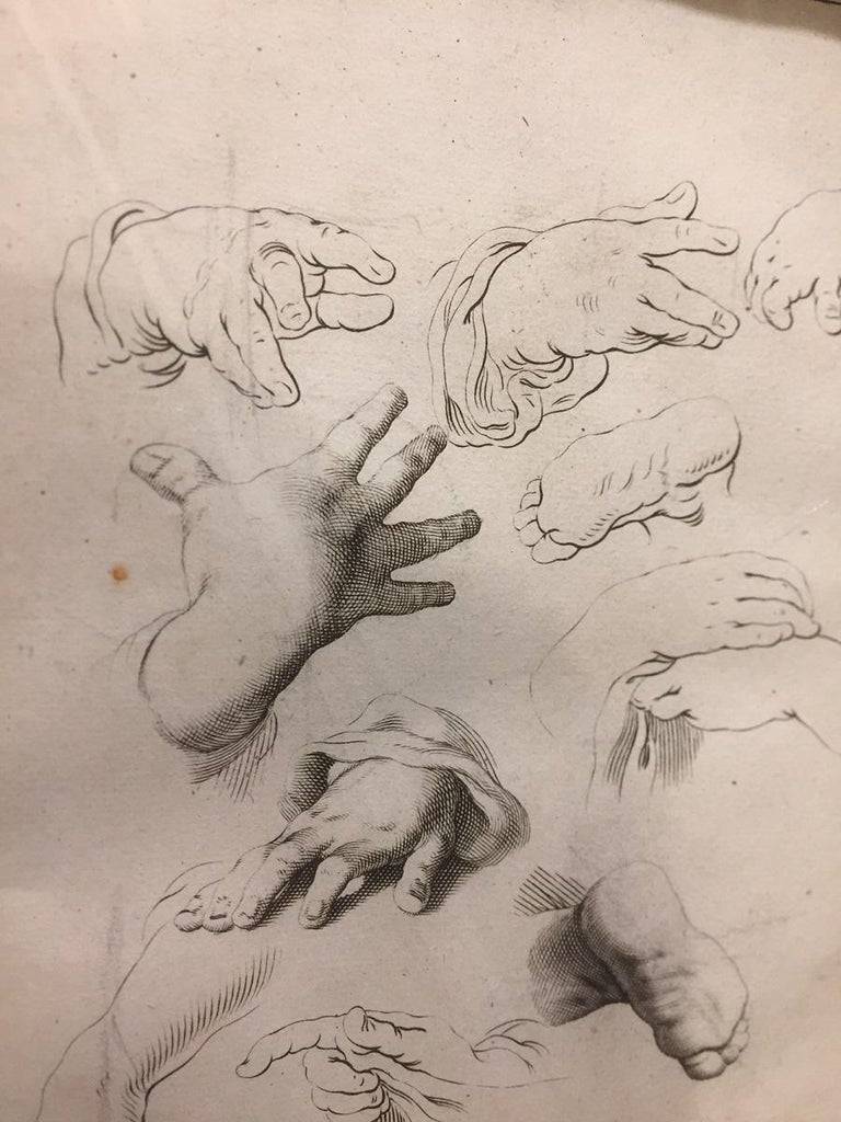 Dutch Abraham Bloemaert Pair of 17th Century Etching Study of Hands For Sale