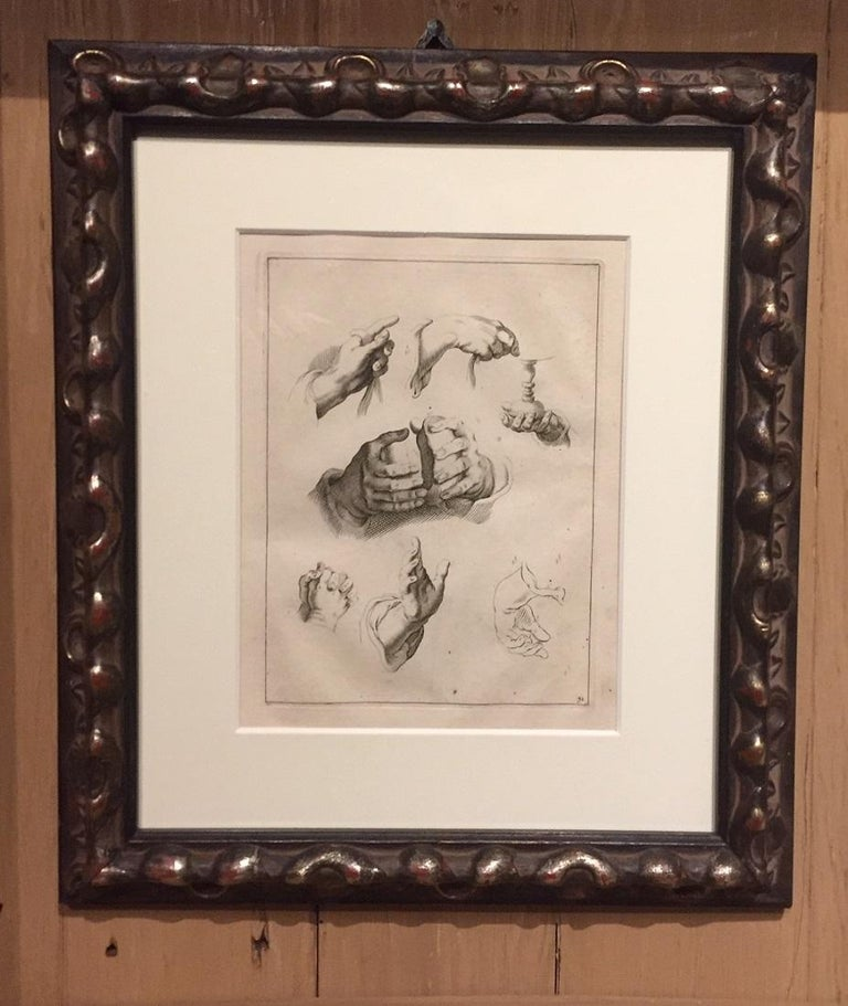 Abraham Bloemaert Pair of 17th Century Etching Study of Hands In Good Condition For Sale In Vosselaar, BE