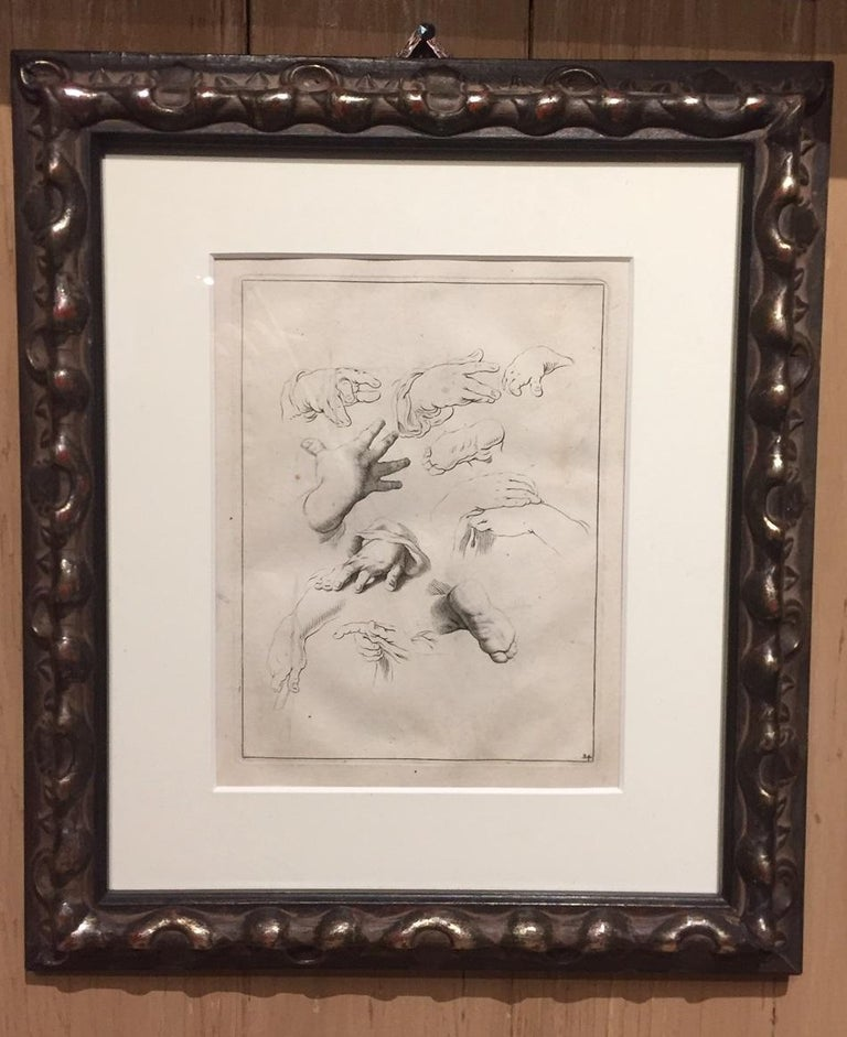 Paper Abraham Bloemaert Pair of 17th Century Etching Study of Hands For Sale