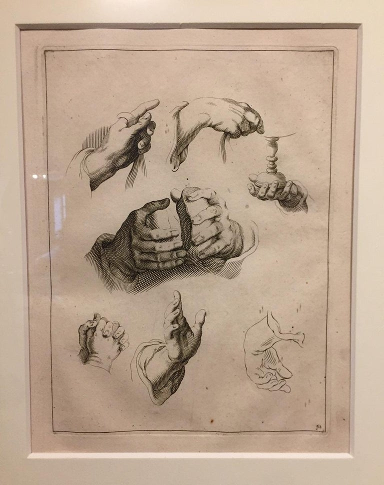 Abraham Bloemaert Pair of 17th Century Etching Study of Hands For Sale 1