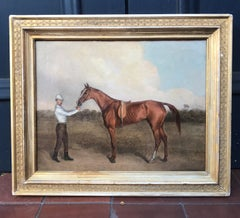 Early 19th Century Oil Painting of Race Horse with standing Jockey