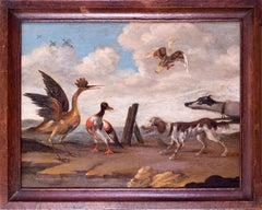 17th Century oil painting of hounds putting up wildfowl