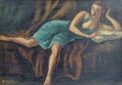 """Dancer Resting,"" Abraham Harriton, Female Figurative American Scene Painting"