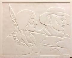 Rare Milk Glass Carved Sculpture Panel Cowboy Indian WPA Artist Americana