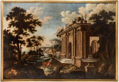 Architectural Capriccio of a Palace with figures by Abraham Hondius