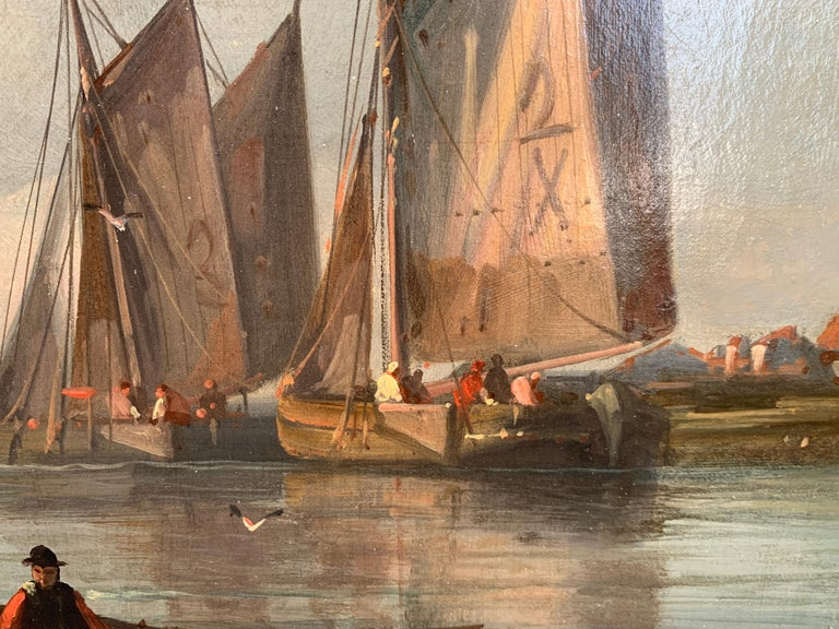 19th Century English or Dutch fishing boats at calm, with a landscape and sunset 5