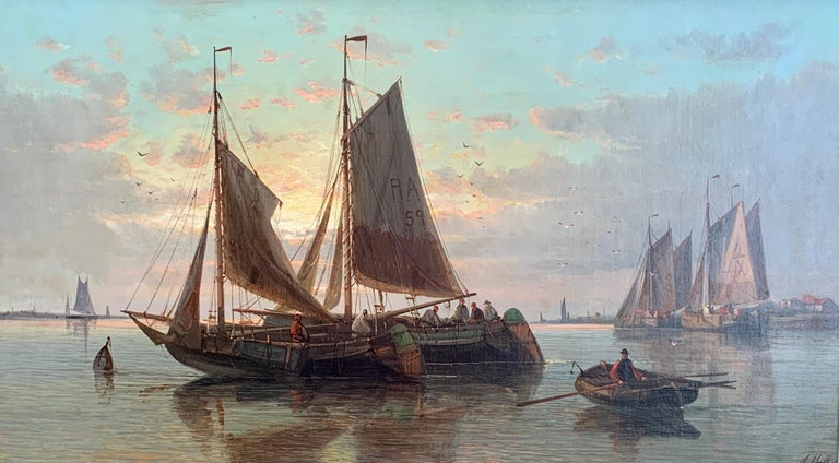 19th Century English or Dutch fishing boats at calm, with a landscape and sunset - Painting by Abraham Hulk the Elder