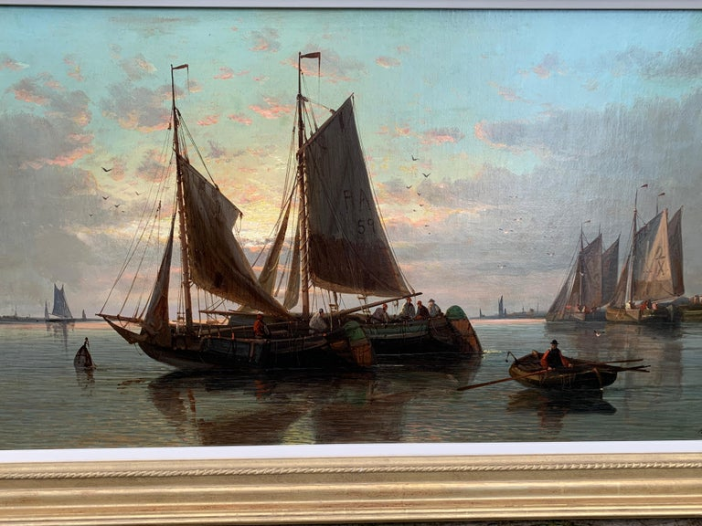 19th Century English or Dutch fishing boats at calm, with a landscape and sunset - Victorian Painting by Abraham Hulk the Elder
