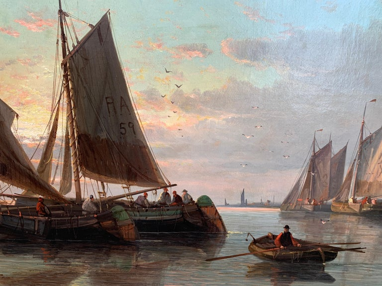 19th Century English or Dutch fishing boats at calm, with a landscape and sunset 1