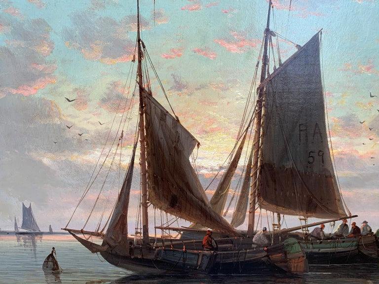 19th Century English or Dutch fishing boats at calm, with a landscape and sunset 2