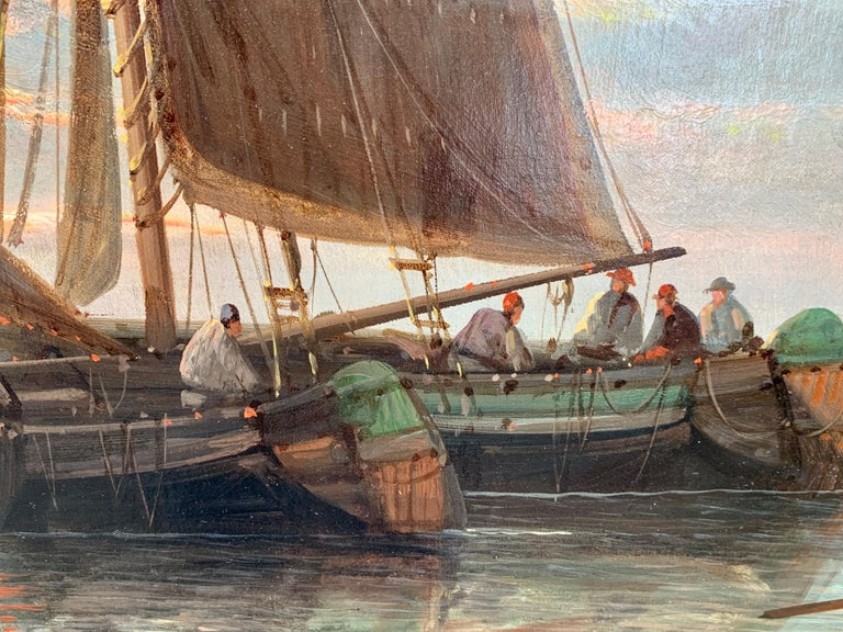 19th Century English or Dutch fishing boats at calm, with a landscape and sunset 3