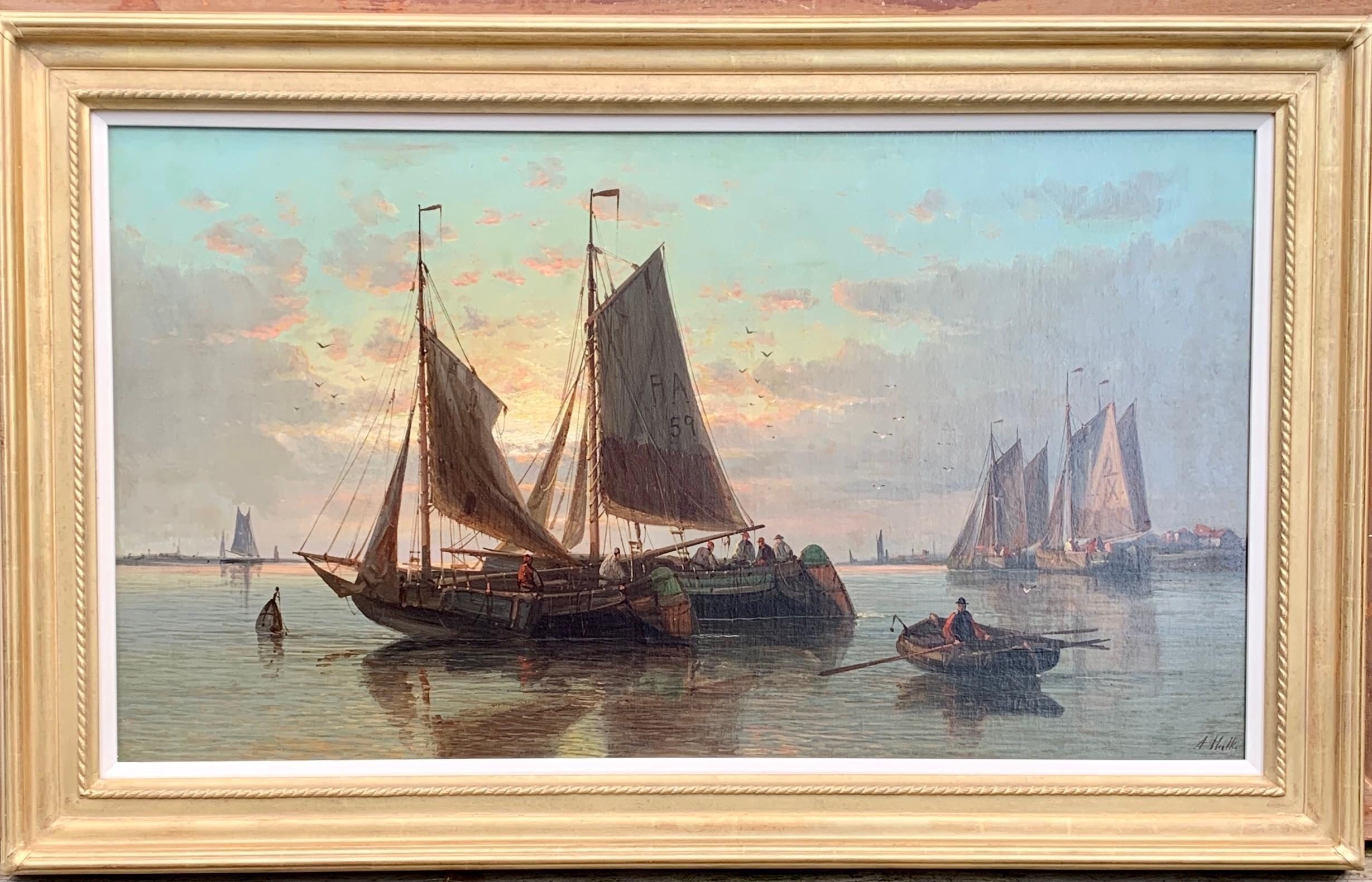 19th Century English or Dutch fishing boats at calm, with a landscape and sunset