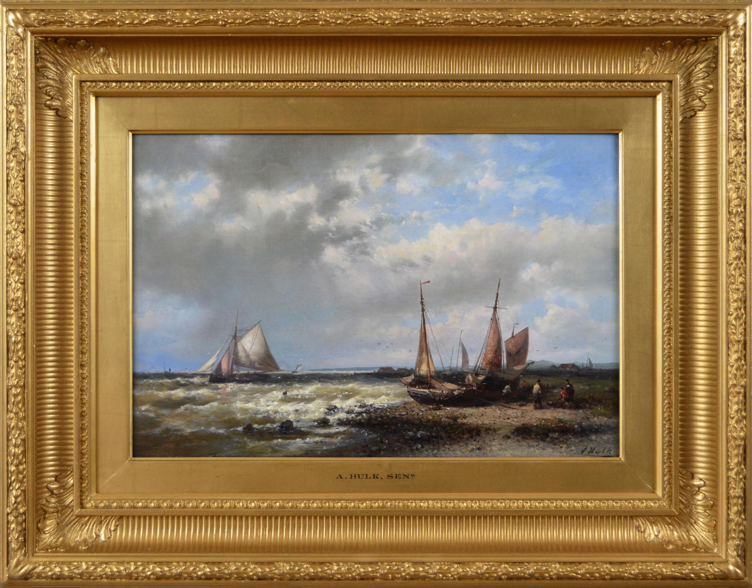 19th Century seascape oil painting of fishing boats off the Dutch coast