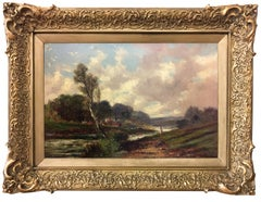 Abraham Hulk The Younger (English 1851-1922) Figure by a village stream