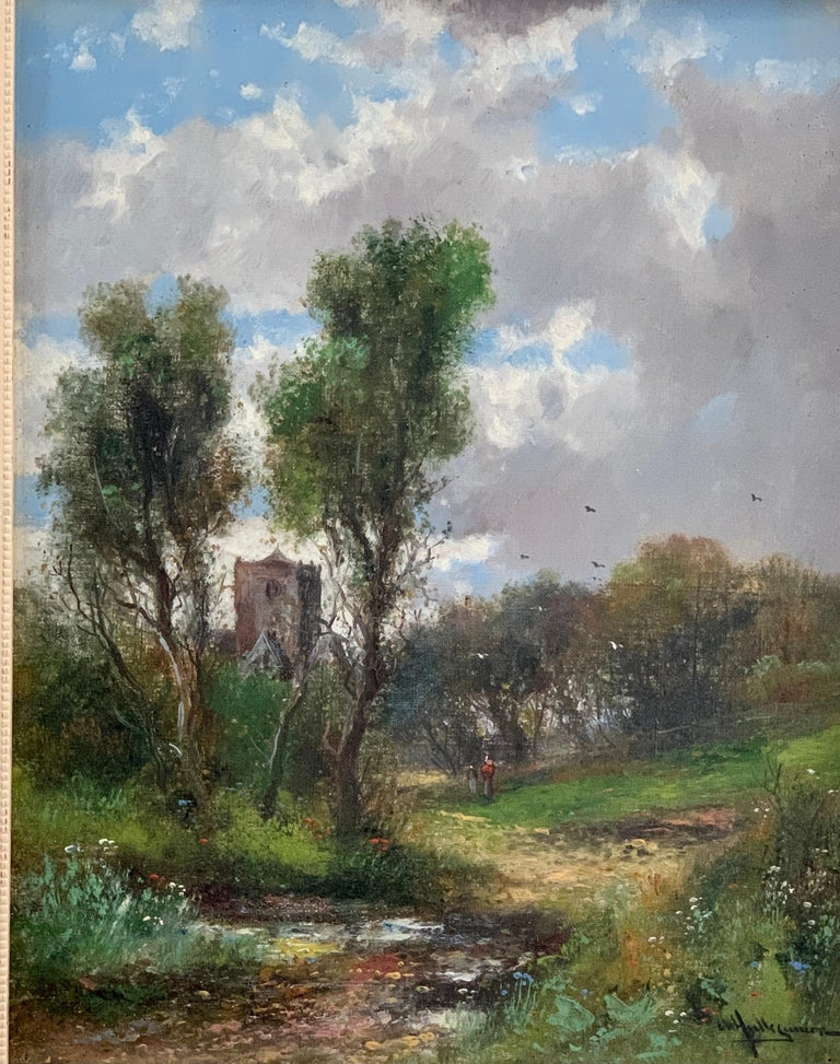 Early 20th Century English Autumn river landscape with a Norman Church - Painting by Abraham Hulk the Younger