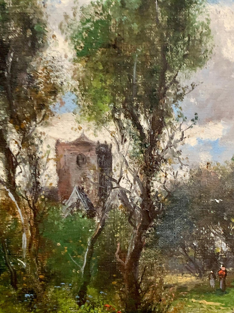 Early 20th Century English Autumn river landscape with a Norman Church - Victorian Painting by Abraham Hulk the Younger