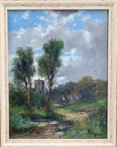 Early 20th Century English Autumn river landscape with a Norman Church