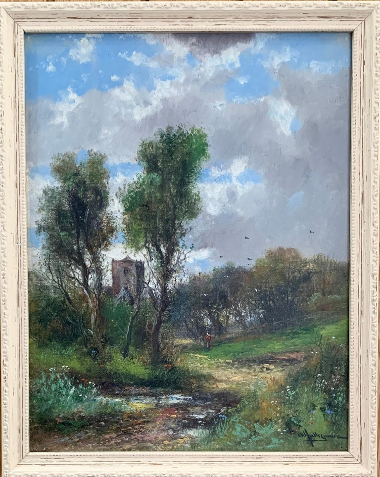 Abraham Hulk the Younger Landscape Painting - Early 20th Century English Autumn river landscape with a Norman Church