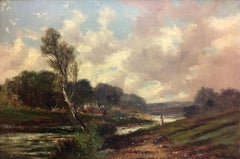 Figure by a village stream - Abraham Hulk the Younger (Dutch/English 1851-1922)