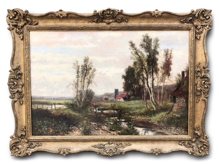 Oil Paintings, Pair of Landscapes by Abraham Hulk Junior (1813-1897) - Brown Landscape Painting by Abraham Hulk the Younger