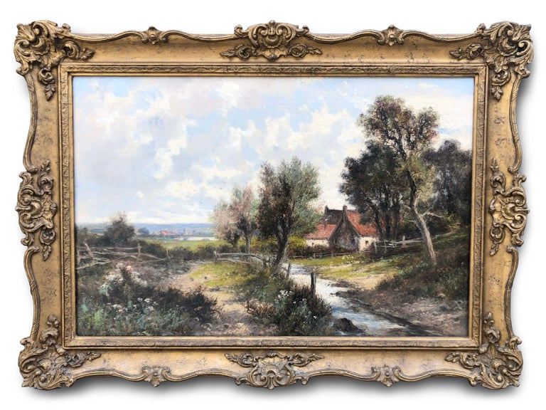 Oil Paintings, Pair of Landscapes by Abraham Hulk Junior (1813-1897)  Abraham HulK Junior was born in the Netherlands in 1851 to renowned Dutch marine painter Abraham Hulk Senior (1813-1897). Although Hulk spent the majority of his life in England,