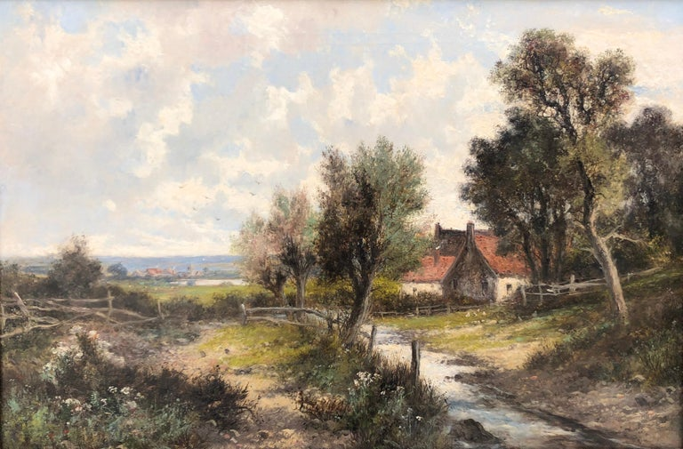 Oil Paintings, Pair of Landscapes by Abraham Hulk Junior (1813-1897) For Sale 1