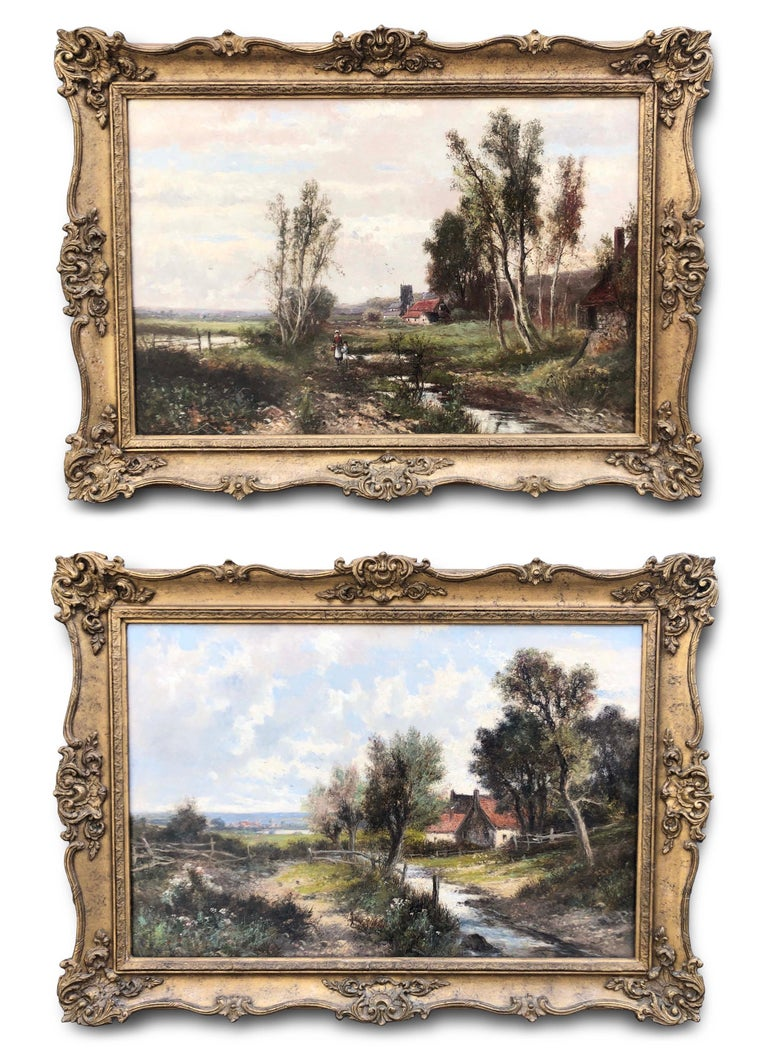 Abraham Hulk the Younger Landscape Painting - Oil Paintings, Pair of Landscapes by Abraham Hulk Junior (1813-1897)