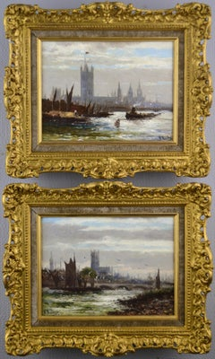 Pair of 19th century landscape oil paintings of the Thames