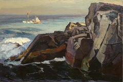 """Fishing Boats off Squeaker Cove,"" Abraham Bogdanove, oil, seascape, ca 1930-40"