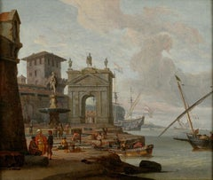 Mediterranean Capriccio,  Oil on canvas by Abraham Storck, circa 1680