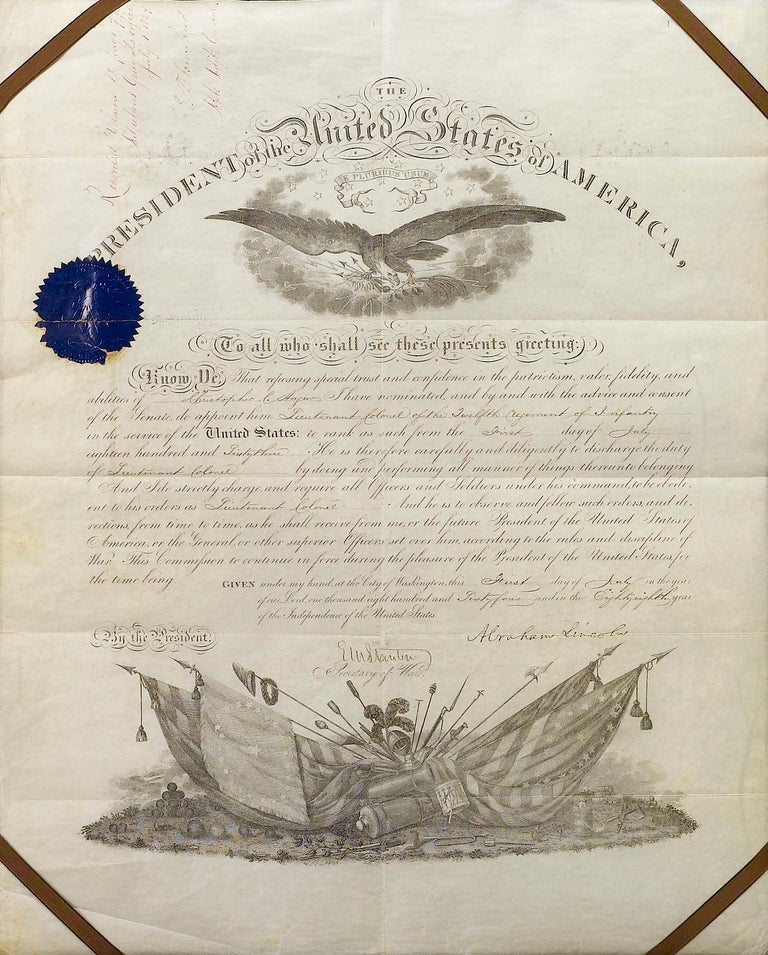 This is an original document signed by Abraham Lincoln as President, dated July 1, 1864. The document is a partly-printed official document appointing future Union major general Christopher C. Augur to Lieutenant Colonel of the 12th Regiment