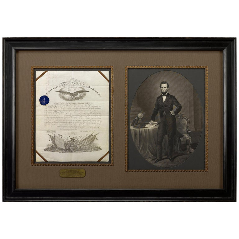 Abraham Lincoln Signed Presidential Civil War Military Appointment, circa 1864 For Sale