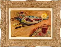 "Abraham Mintchine ""Still Life"" Circa 1920, School of Paris Cardboard Canvas"