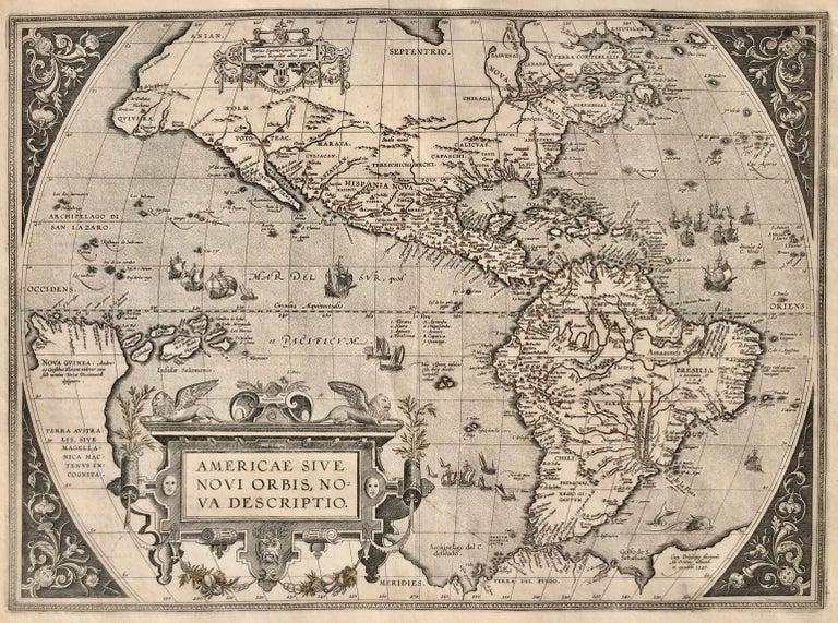 Abraham Ortelius Landscape Print - AMERICAE - Sive Novi Orbis, Nova Descriptio