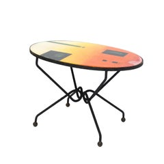 Abraham Palatnik Midcentury Brazilian Side Table with Colorful Graphics, 1970s