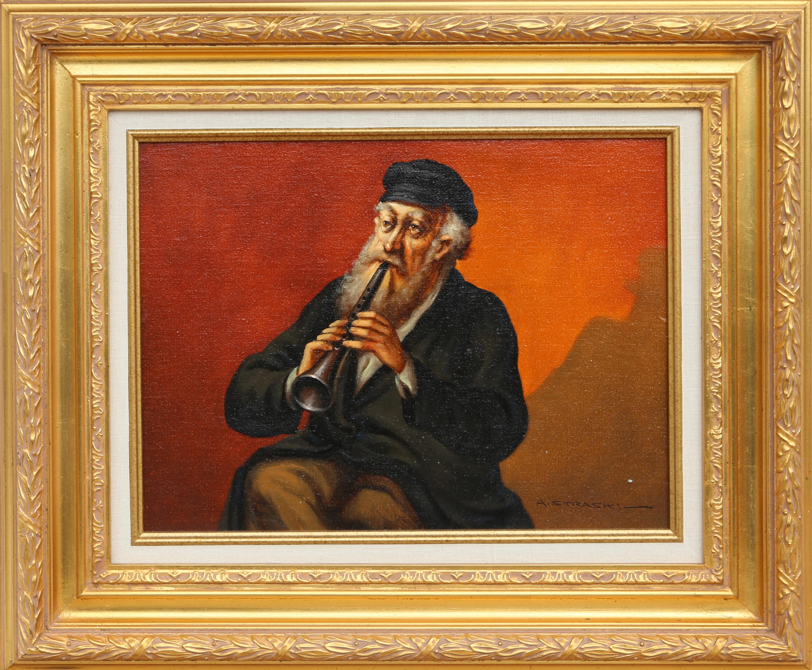 Framed Clarinet Player, Oil Painting by Abraham Straski