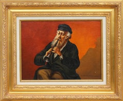 Framed Clarinet Player, Oil Painting by Abraham Straski