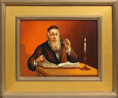 Framed Polish Rabbi, Oil Painting by Abraham Straski