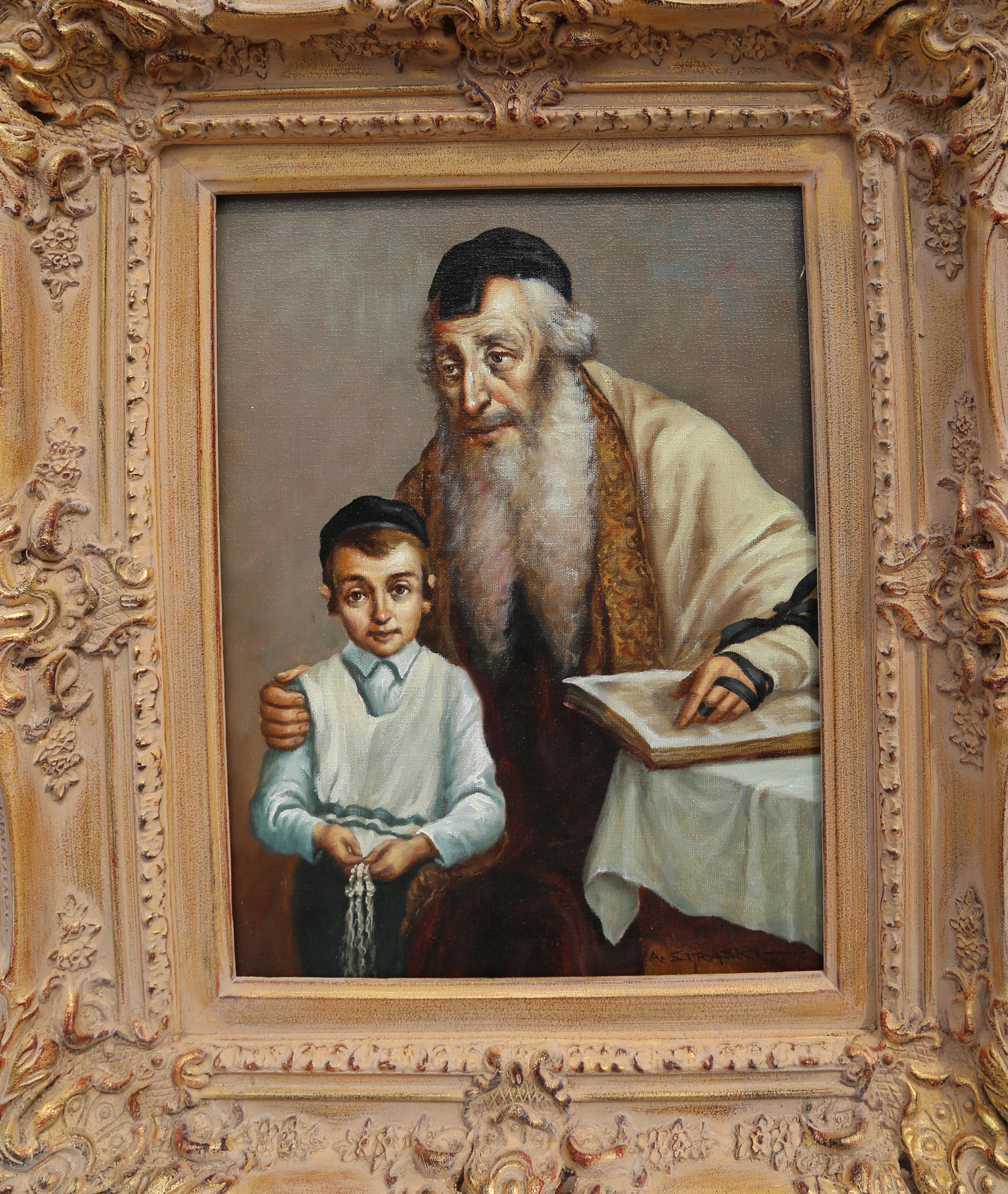 Rabbi and Student, Oil Painting by Abraham Straski 1957