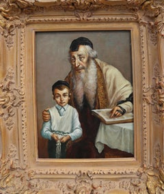 Rabbi and Student, Oil Painting by Abraham Straski 1957