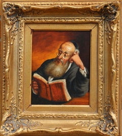 Rabbi Reading, Oil Painting by Abraham Straski
