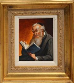Reading Rabbi, Oil Painting by Abraham Straski