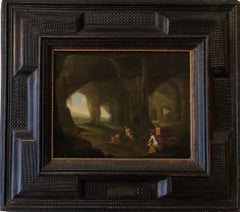 17th Century Classical Oil Painting - Diana With Her Attendants in a Grotto