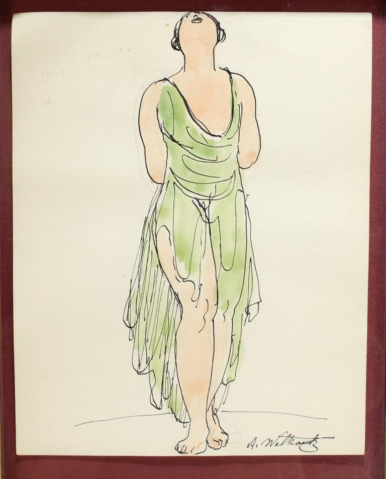 Abraham Walkowitz Ink Drawing Of Ballet Dancer Isadora Duncan In Green For Sale At 1stdibs