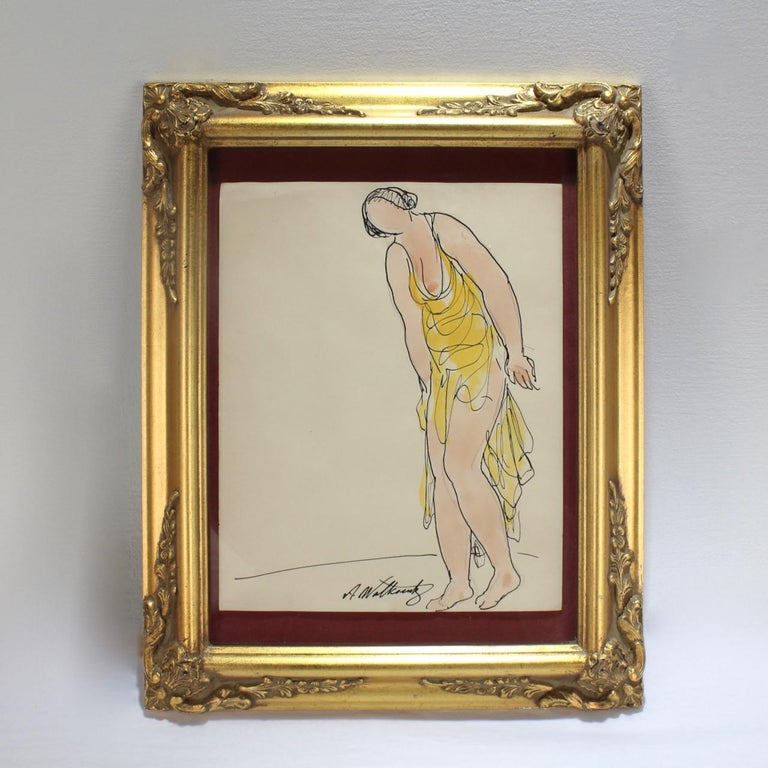 A fine drawing in ink and watercolor on paper of the modernist dancer Isadora Duncan by Abraham Walkowitz.   Walkowitz (1878-1965) had an intimate artistic relationship with Duncan. He drew her in dance literally thousands of times.   This image